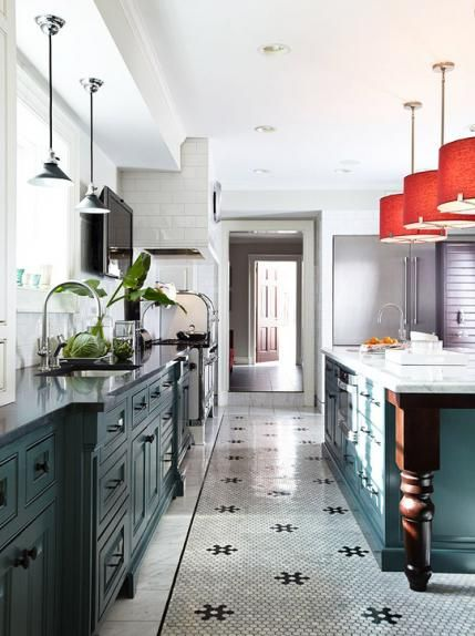 """Benjamin Moore wall paint (""""Revere Pewter"""" #HC-172); upper cabinet paint (""""White Dove""""); lower cabinet paint (""""Charlotte Slate"""" #AC-24)"""