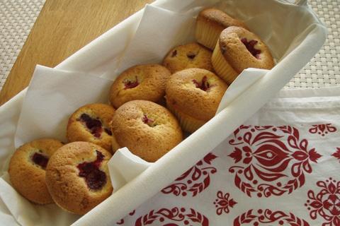 Muffins - Hallon & vit choklad