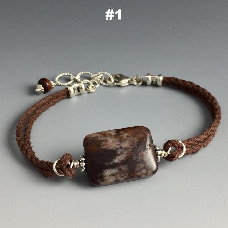 Outback Jasper, Sterling Silber & Hanf Armband
