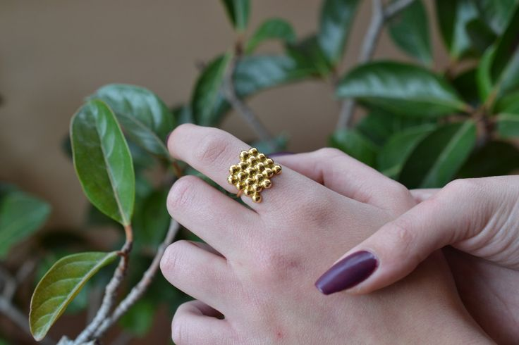 Dotted Gold Ring Solid 18k Gold Ring Princess Gold Ring Gold Ball Band Wanderlust Ring Ancient Gold Ring Trendy Gold Ring Gold Bubble Ring by ViazisJewelry on Etsy