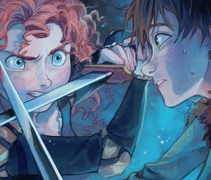 """Merida's like, """"You must die."""" Hiccup's like, """"Look, all I did was say your hair looks like the dragons set my entire village on fire again. Please don't kill me."""" Or something like that. I love them."""