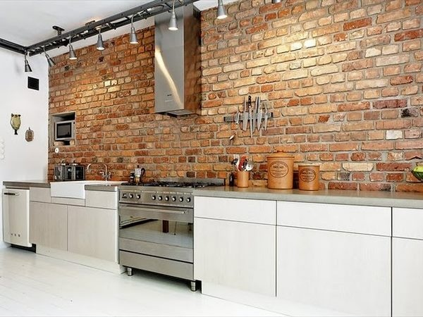 Here's an idea for a kitchen wall- exposed brick work. Combined with the crisp clean white cabinetry... pinned with Pinvolve