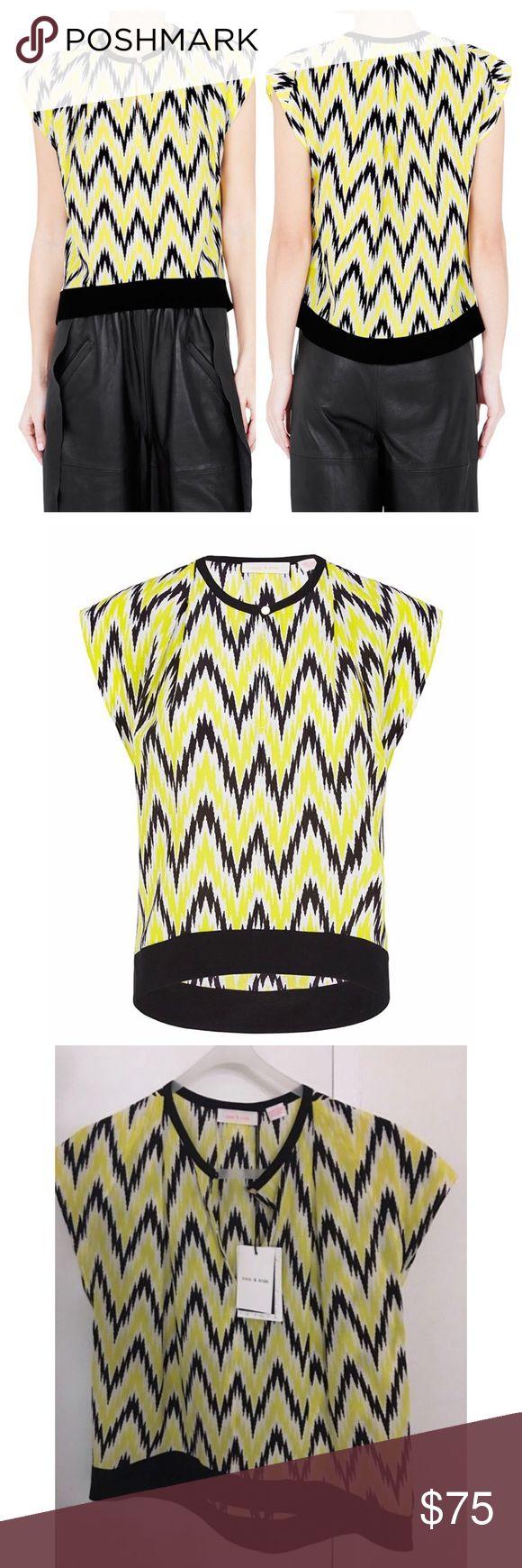 "NWT Sass & Bide Robotic Agent Silk Chevron Top Brand-new with tag Sass & Bide blouse. Fabulous Australian designer. Robotic agent style. Yellow and black chevron print. 100% silk. Size 2, 21"" in front, 24"" back 💕 sass & bide Tops Blouses"