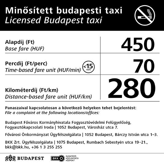 Taxiszolgáltatással kapcsolatos tájékoztatás | Budapesti Közlekedési Központ