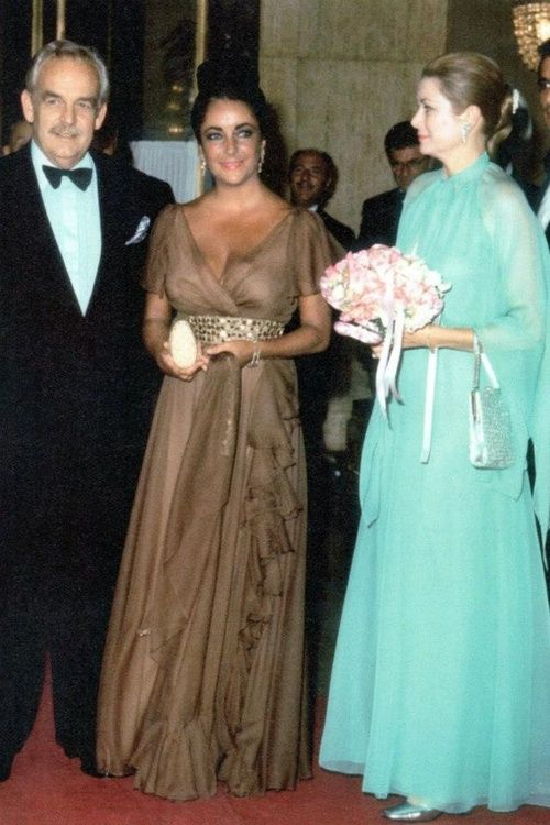 ready4royalty:  Prince Rainier and Princess Grace with Grace's old friend from Hollywood Elizabeth Taylor