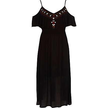 Black embroidered frill maxi cami dress £35.00