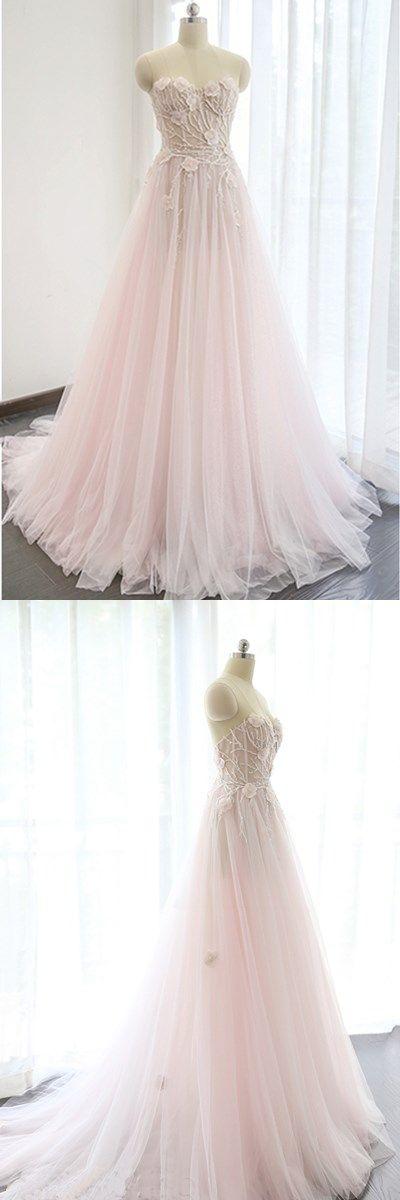Princess pink lace appliqués long A-line bridal dress, pink train evening dress #prom #dresses #longpromdress #promdress #eveningdress #promdresses #partydresses #2018promdresses #pinktullepromdresses
