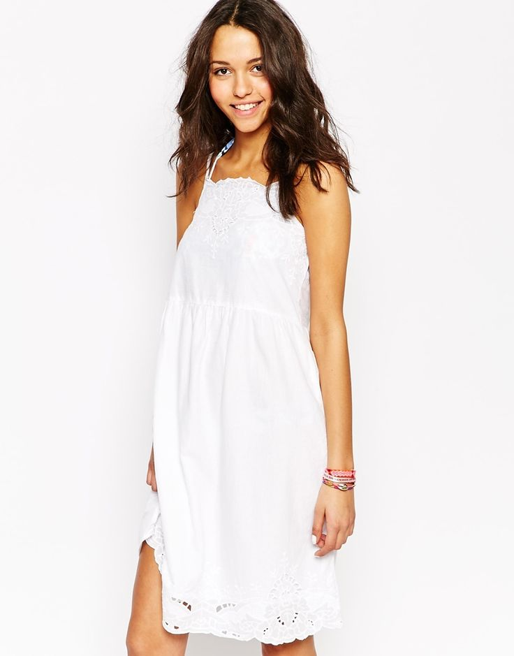 Image 1 of Oysho Embroidered Lace Detail Beach Dress