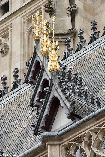 Close-up on the roof at the City Hall in Arras, France. Pol Bacquet