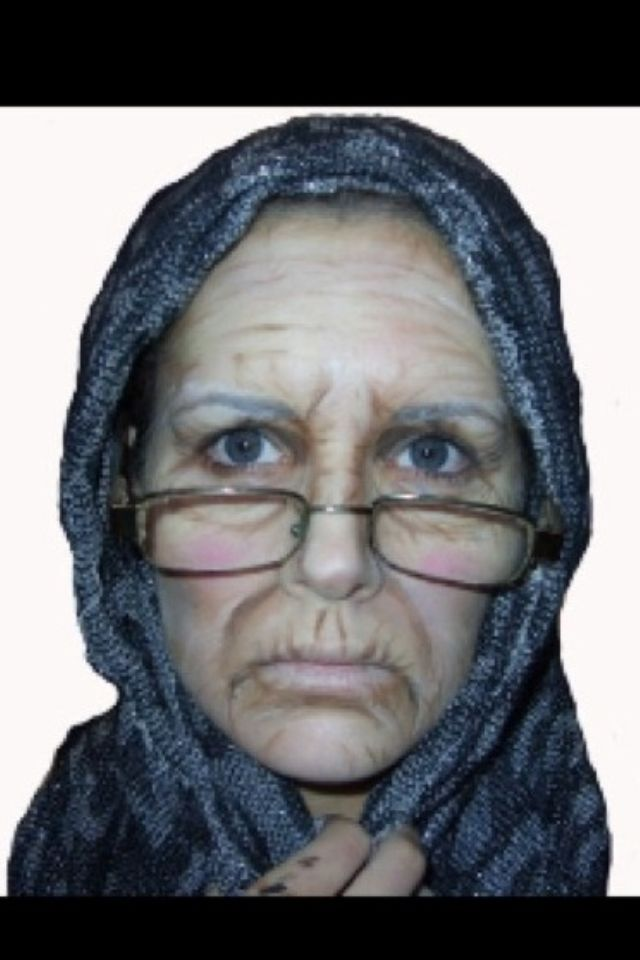 Old lady makeup with only facepaints.