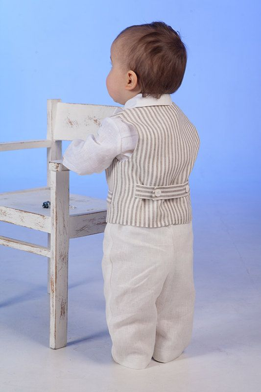 Boy linen suit ring bearer outfit baby boy natural by Graccia