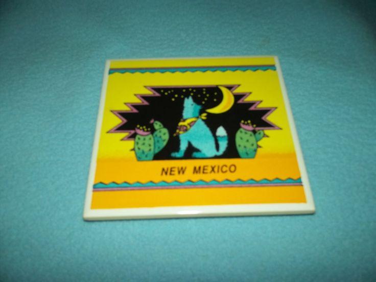 NEW MEXICO Souvenir COYOTE CACTUS Tile WALLTILES SRI LANKA Trivet