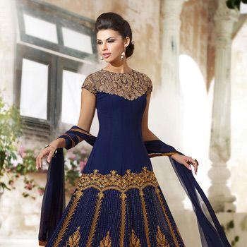 Dark #Blue Faux Georgette #Anarkali Churidar Kameez