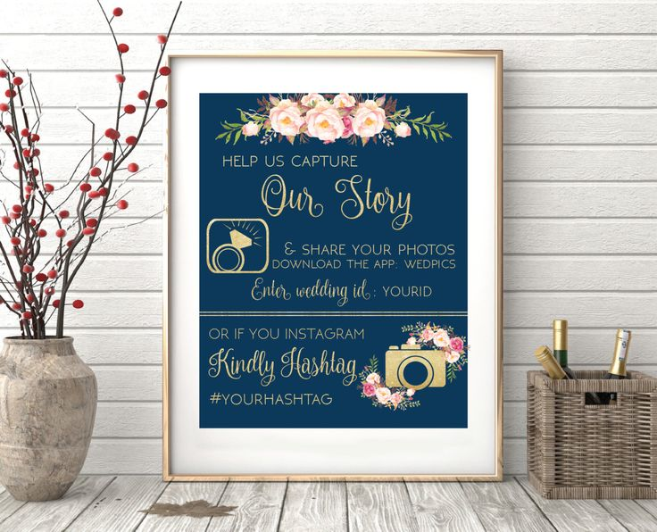 Wedpics sign, Wedding signs printable, Instagram Wedding Sign,Wedding Hashtag Sign,  Wedpics app sign,Gold Wedding Signs,Navy Wedding Signs by designinvitationsbk on Etsy