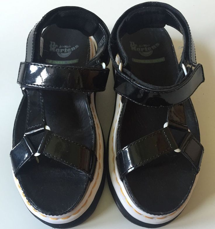 Dr Martens x Agyness Deyn Black Patent Leather Chunky Aggy Sandal Size 7 US  38 |