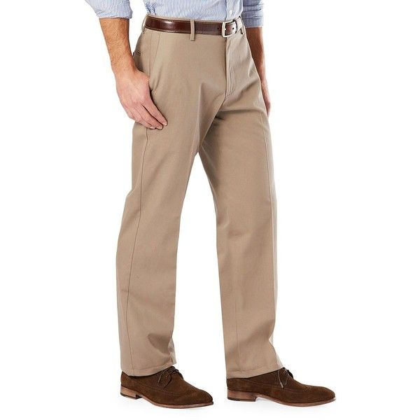 Dockers Flat Front Classic Fit Khaki Pants ($40) ❤ liked on Polyvore featuring men's fashion, men's clothing, men's pants, men's dress pants, beige, mens flat front khaki pants, mens stretch khaki pants, dockers mens pants, mens khaki pants and mens stretch pants