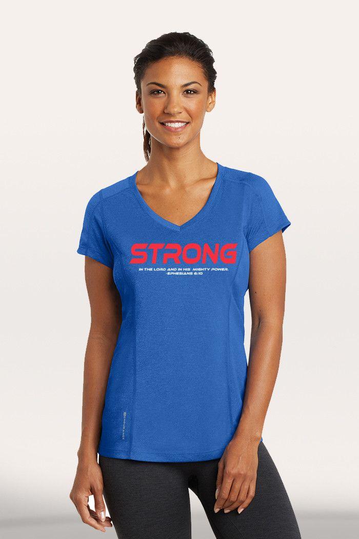 Strong Women's Active V-Neck - Blue