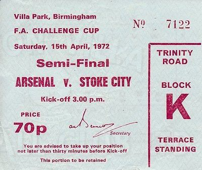 Ticket: fa cup semi #final 1972 #arsenal v #stoke city,  View more on the LINK: http://www.zeppy.io/product/gb/2/311734368323/