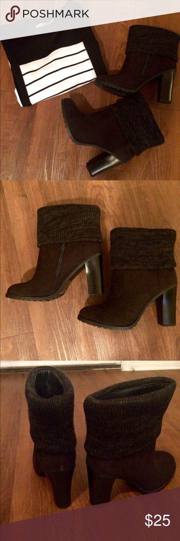 Jarae Sweater Booties (Leila Stone/Shoe Dazzle) Jarae Sweater Booties (Leila Stone for ShoeDazzle) in black. Cute and comfy bootie with unique sweater cuff step up the meaning of fall fashion. In perfect condition! Brand new, never worn! NWOT. Even has original size sticker on the bottom. JustFab Shoes Ankle Boots & Booties