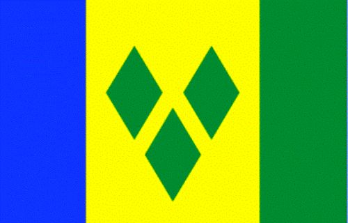 St Vincent and the Grenadines Flag Description  Three vertical bands of blue (hoist side), gold (double width), and green; the gold band bears three green diamonds arranged in a V pattern.
