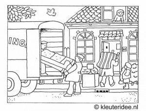 Kleurplaat verhuizen 2, kleuteridee.nl, moving coloring .