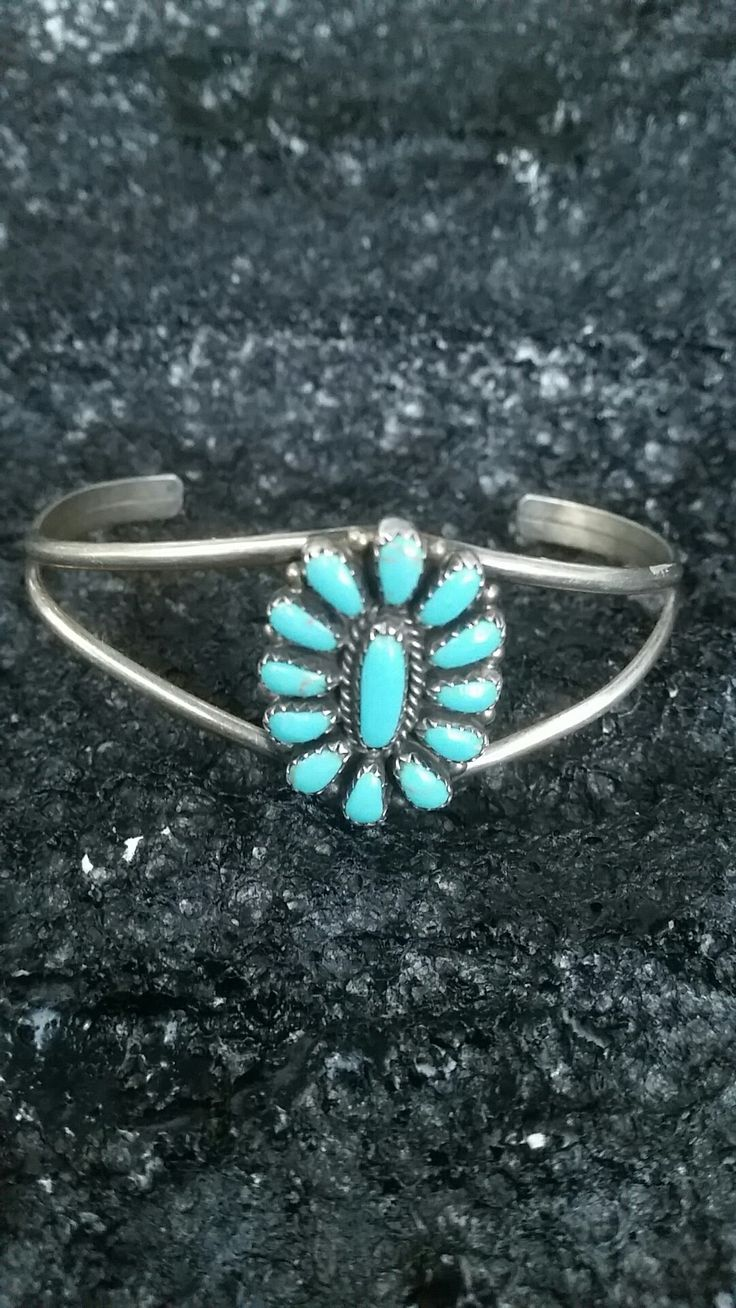 Vintage Navaho Turquoise & Sterling Silver Cuff