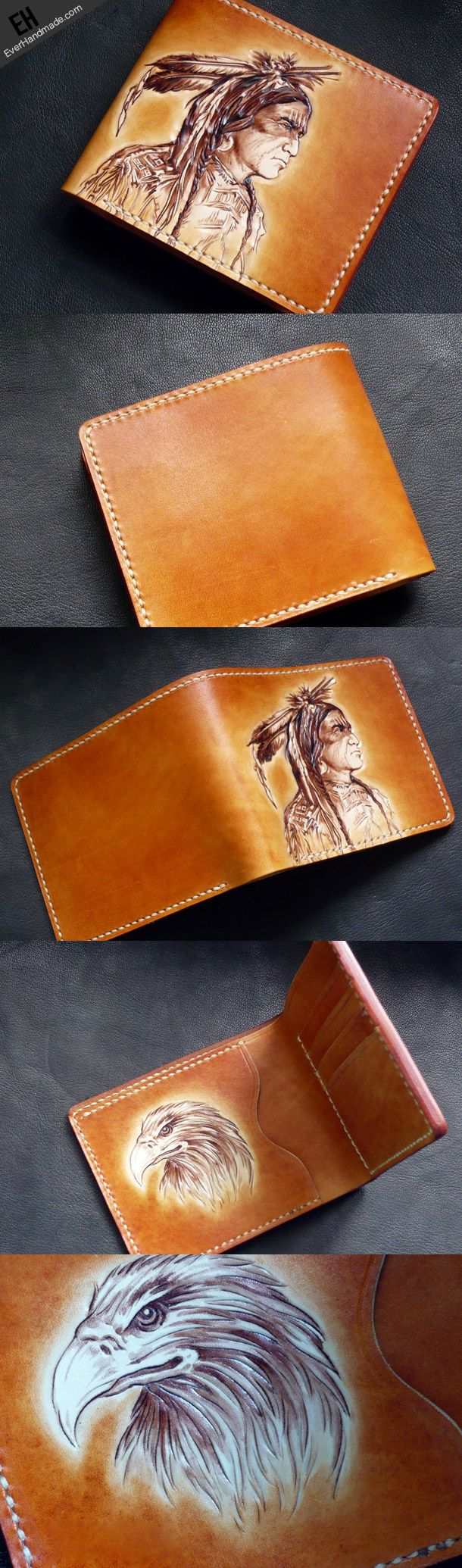 Handmade short leather wallet men indian chief carved