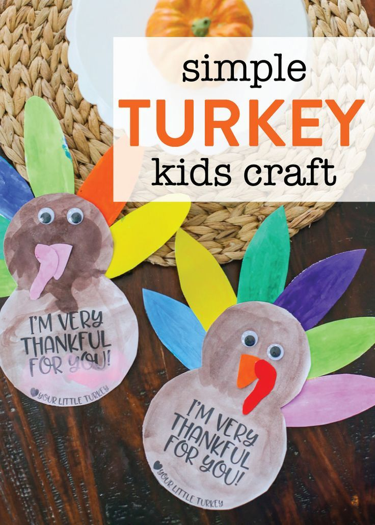 Simple Thanksgiving Turkey Kids Craft : Looking for a quick and easy Thanksgiving kids craft? Your kids are going to love making one of these darling turkey cards with simple supplies from around your house. They are the cutest turkey craft around and would be adorable to send to friends and family to wish them a Happy Thanksgiving! Includes FREE printable template.
