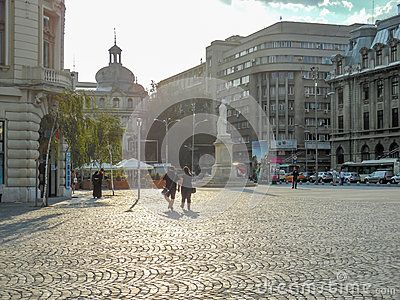 University Square in Bucharest in a sunny summer day