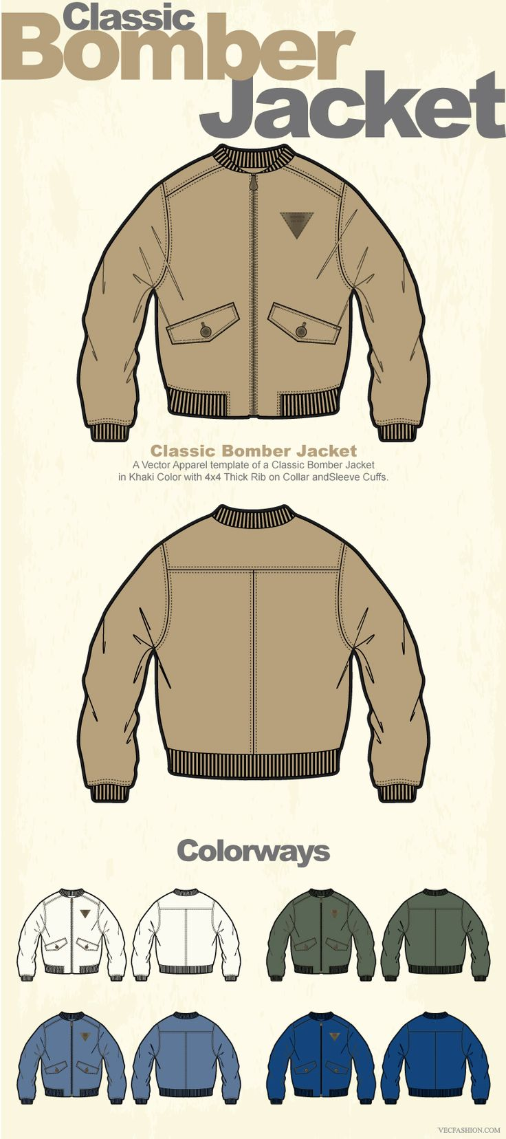 Men Classic Bomber Jacket Vector by VecFashion on Creative Market