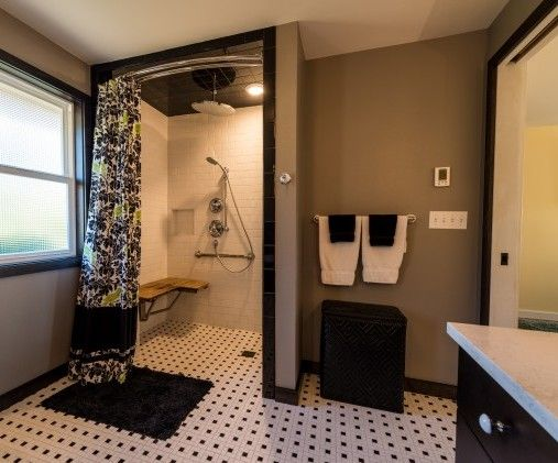 Might Like This Option Using The Curved Shower Bar And Curtain. Ada  Bathroom Design Ideas, Pictures, Remodel And Decor