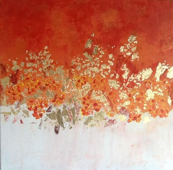 Peinture abstraite - Orange doree- acrylique avec application de feuille d or : Peintures par magaline-arts