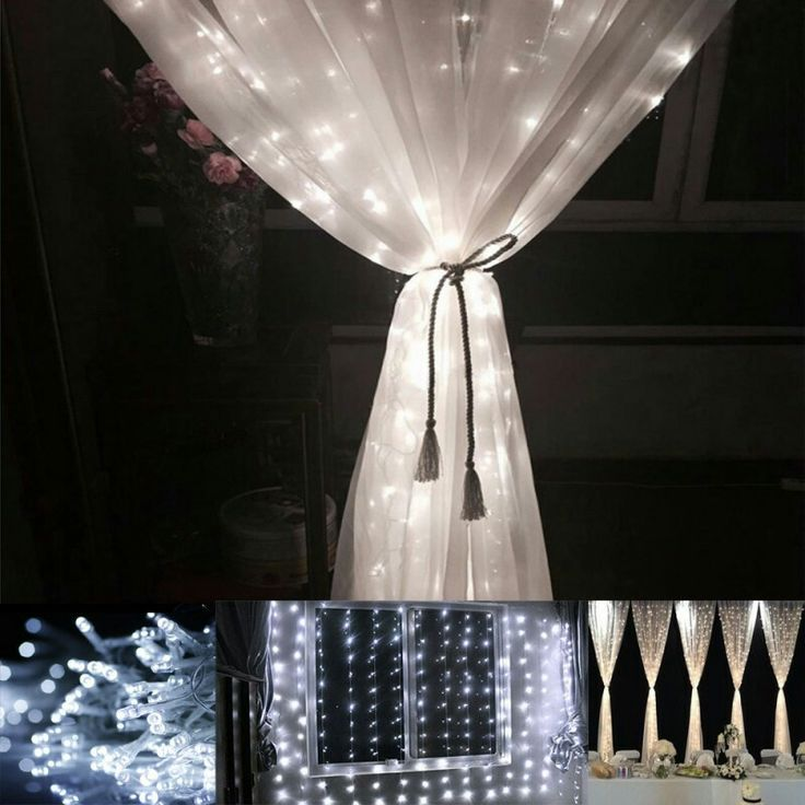 Best Sell Daylight White 8 Modes LED Curtain Lights For Weddings 306 LEDs Linkable Design Waterproof Wholesales Price