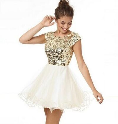 Homecoming dresses,gold sequined homecoming dresses,short sleeve open back cocktail dresses