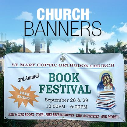 Publishing hosted events and church activities by many different church ministries becomes easy with churchbanners & signs