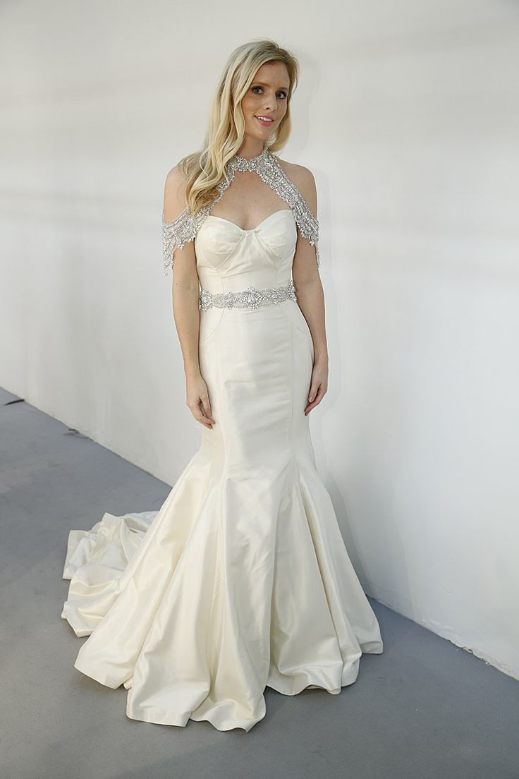 """Roz La Kelin Wedding Dresses, Fall 2015 - Fishtail. Behind the scenes @weddingwire at New York Bridal Week. Fitted fishtail bridal gown of taffeta featuring beaded belt and beaded accessories from Roz la Kelin Pearl Collection """" Summer"""". #rozlakelin"""