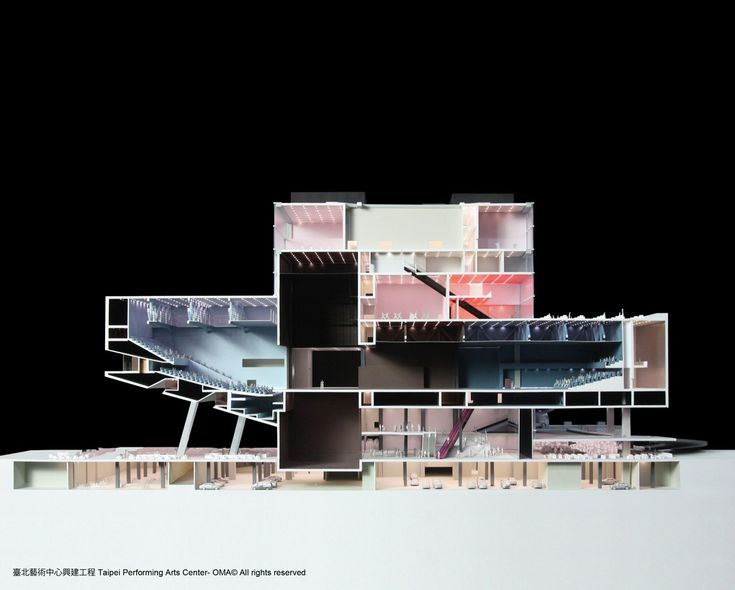 OMA's Taipei Performing Arts Center breaks ground,TPAC section model © OMA