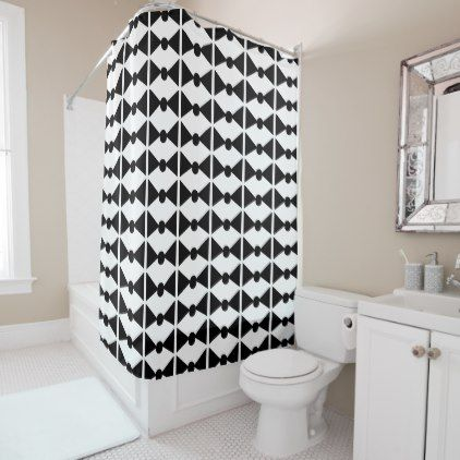 hipster shower curtain bowtie pattern black white - home gifts ideas decor special unique custom individual customized individualized