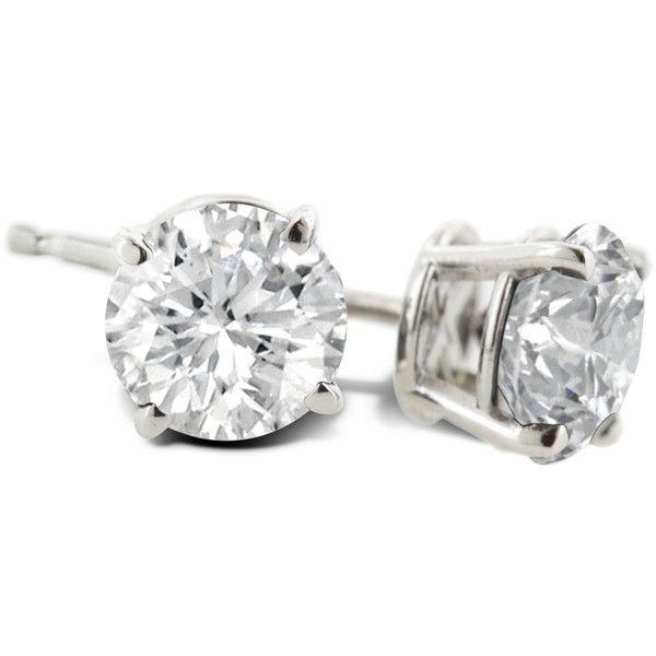 1 Carat Diamond Stud Earrings In Platinum 065 Liked On Polyvore Featuring