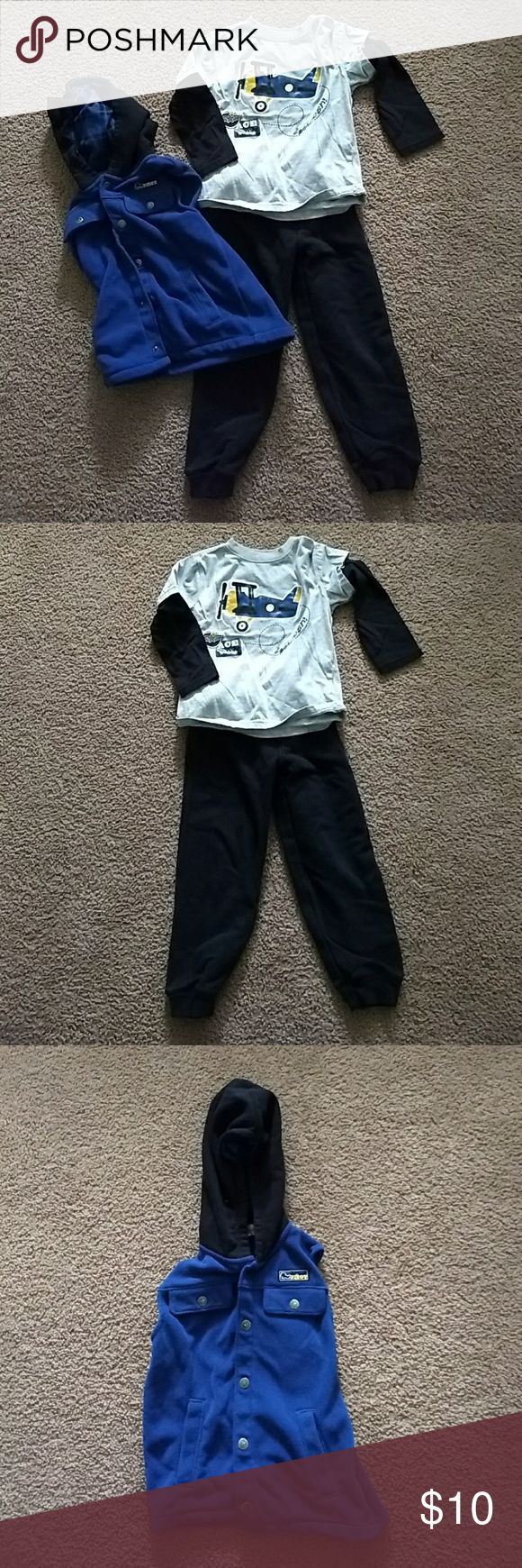 Kids Headquarters bundle Ling sleeve top and black bottoms, hooded sleeveless blue vest goes over shirt Kids Headquarters Matching Sets