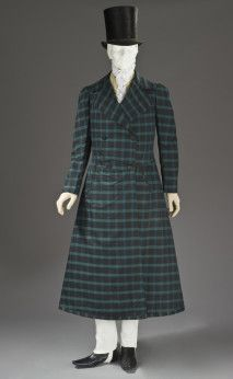 1820 Frock Coat.(LACMA) In 1816, the frock coat was introduced. Unlike long-tailed dress coats, frock coats had a waist seam and a full skirt which hung down to the knees. Initially viewed as being rather informal, the frock coat would eventually become a wardrobe staple.
