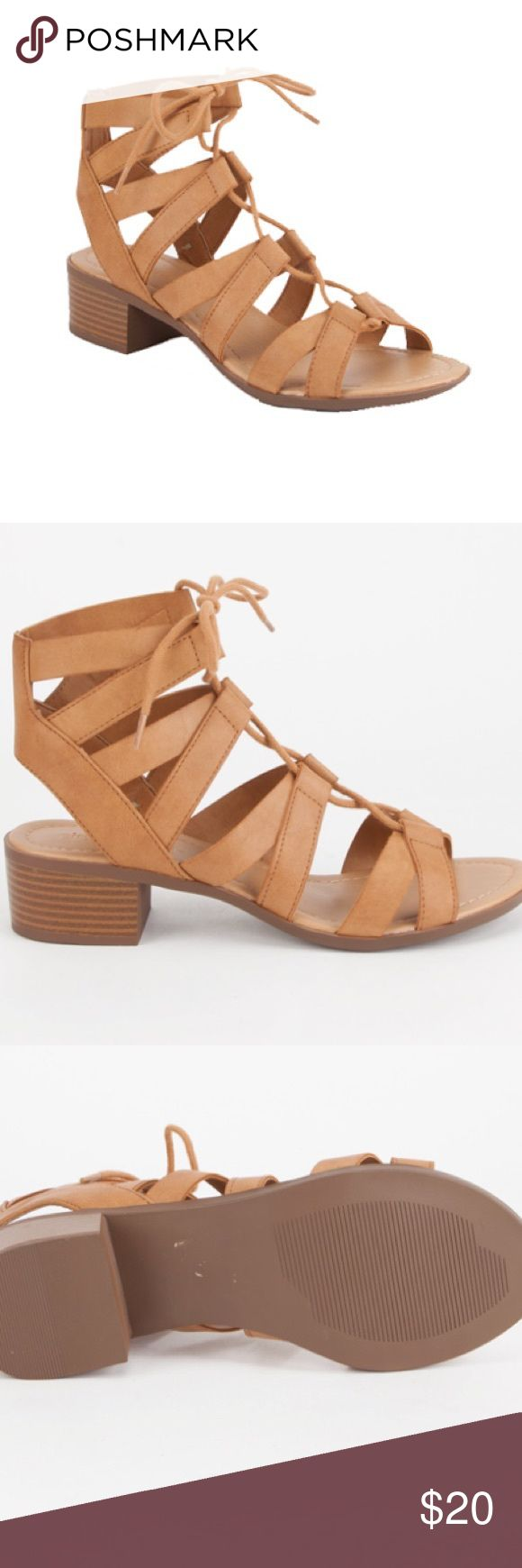 "CITY CLASSIFIED - Strappy Lace Up Sandals - Heels Brand new - strappy lace up heeled sandals, faux leather straps, lace up self-tie at ankle, faux leather foot bed, stacked heel, heel height: approx. 1.5"" ❌TRADES❌ Tilly's Shoes Heels"
