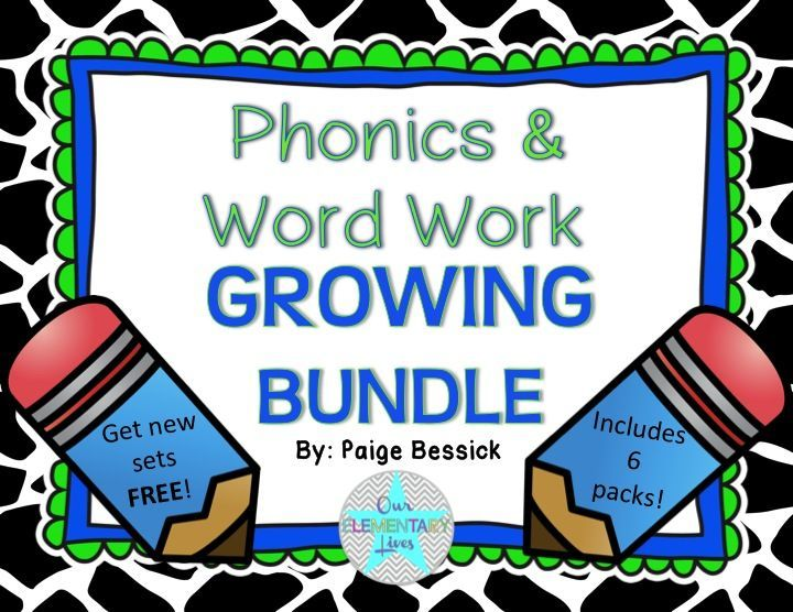 Phonics & Word Work Growing Bundle.  Buy now and save 20%!  Includes 6 complete sets.  The earlier you buy, the more you save.  As I add products, the price will go up!
