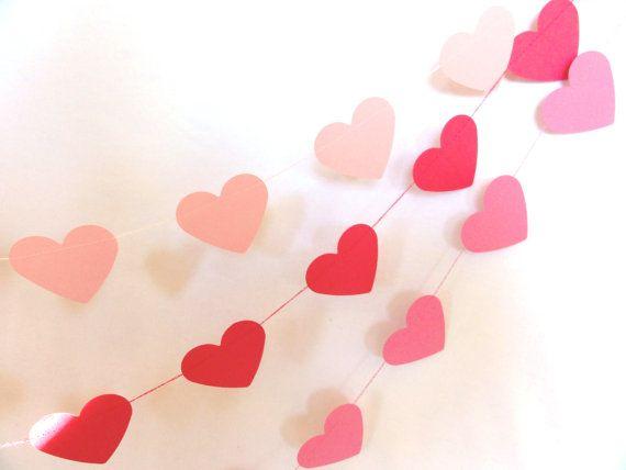 Dark Pink Paper Heart Garland Party Banner 10 feet by ShastaBlue, $8.00