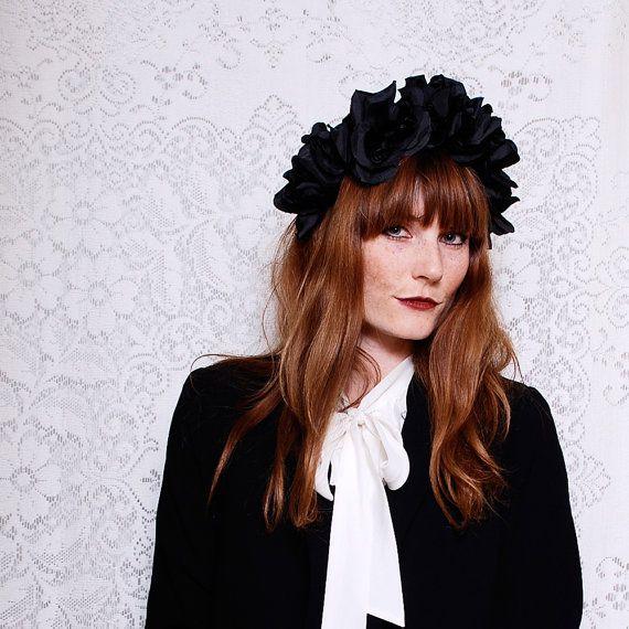Black Flower Crown Gothic Flower Crown Black Flower: BLACK FLORAL CROWN, Floral Headband Wreath Headpiece