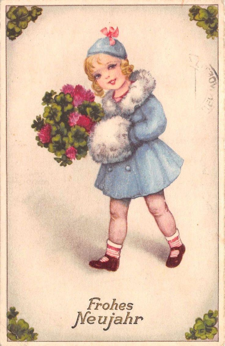 AK Frohes Neujahr Mädchen mit Glücksblätter Muffe Mütze Postkarte 1940 | eBay