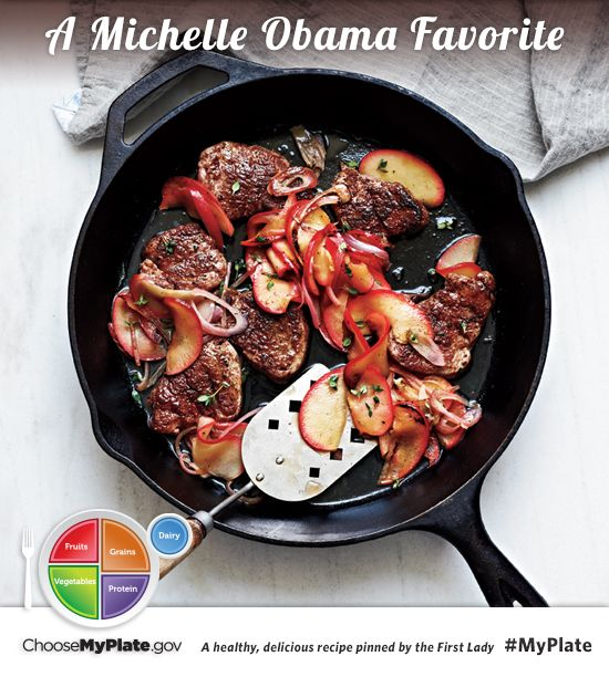 Spiced Pork Tenderloin with Sauteed Apples #pork #fruit #myplate (Source: MyPlate)