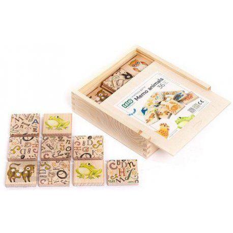 """Witajcie, dziś """"drewniana edukacja""""  Popularna wśród dzieci, wykonana z drewna Gra Memory Zwierzęta w zestawie Bajo 99690.   36 bloczków z obrazkami  przedstawiającymi zwierzęta leśne, domowe i z różnych zakątków świata.  Całość przechowujemy w solidnym, zamykanym drewnianym pudełeczku.  Świetna gra edukacyjna dla najmłodszych pociech już od 18 miesięcy.  #bajo #gramemoryzwierzęta #zabawki #niczchin #kraków"""