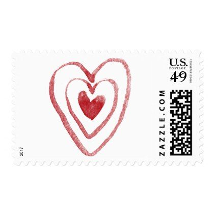 Red Watercolor Nesting Hearts 9 Valentine Wedding Postage - romantic wedding love couple marriage wedding preparations