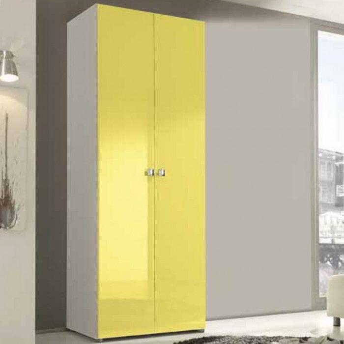 ... due ante battenti con frontali gialli e maniglie in acciaio quadrato